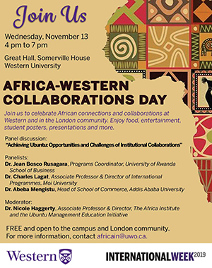 An invitation with information for Africa-Western Collaboration Day
