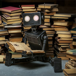 robot and books
