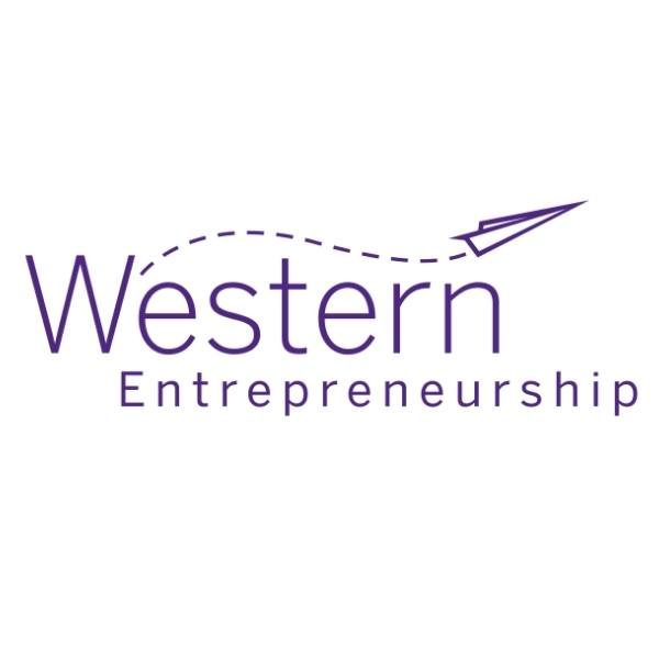 Western Entrepreneurship purple logo on white background.