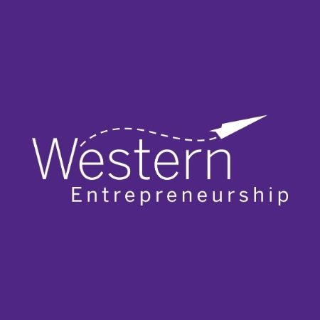 Western Entreprneruship Reverse logo on purple background