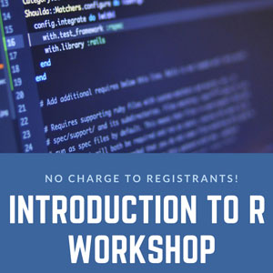Introduction to R is a 3-hour workshop introducing basic programming concepts in R and learning to execute data manipulations, calculations, statistical analyses, and produce useful graphs and numeric summaries