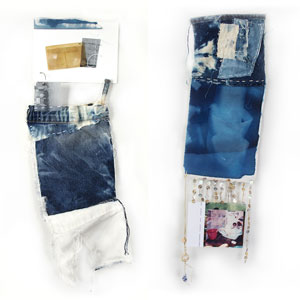 Ramolen - At a Distance, two collages made of denim
