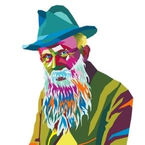 Old multicolour man in hat