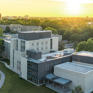 Aerial view of Music Building and Talbot College at Western University