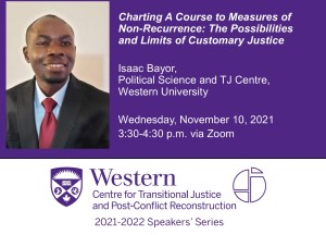 Isaac Bayor, Political Science and TJ Centre, Western University